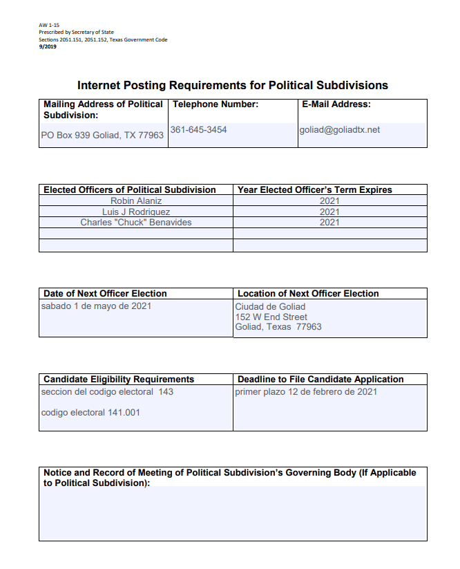 Internet Posting Requirements for Political Subdivisions spanish